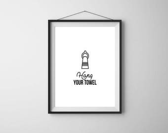 Bathroom Wall Decor, Bathroom Signs, Hang Your Towel, Printable Art, Bathroom Decor, Bathroom Wall Art, Kids Bathroom Prints, Bathroom Art