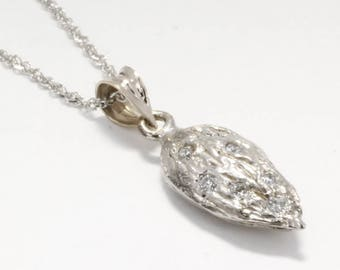 """Almond Jewelry, Almond Necklace, Small 14kt White Gold Almond Necklace with diamonds on 18"""" chain, California almond grower gift for her"""