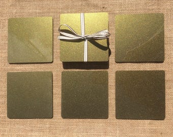 Acrylic Coasters, Gold And Silver Glitter style.