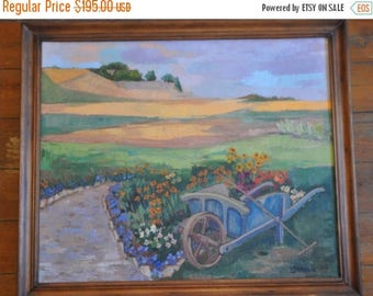 25% Sale Large Vintage French Impressionist Farmhouse Painting, French Country Framed Painting, Cottage Chic, Provence, South of France, Far