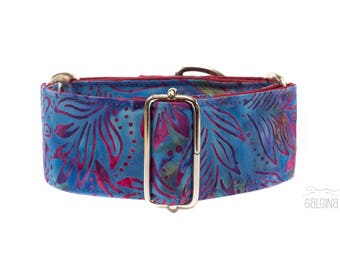 "Sweet dreams, dog collar, blue, purple, bordeaux, floral, girl, wide sighthound collar, 2"" martingale, 1.4"" martingale, 1"" martingale"