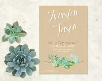 Succulent Save the Date - 5x7in - Printable