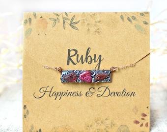 Ruby Necklace, Ruby Birthstone Necklace, July Birthstone Necklace, July Birthstone Jewelry, Raw Ruby Necklace, July Birthday