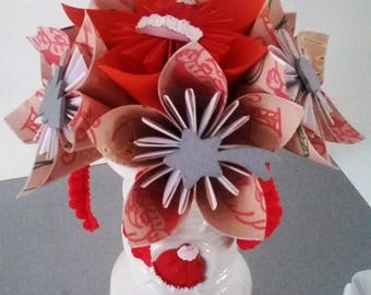 (spool of thread with needle and button) white vase and bouquet 6 origami flowers