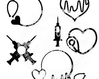 Nurse Medical  Collage SVG Cut File for Silhouette Cameo, Cricut, svg cut Files, Medical, Ekg, Heartbeat, Valentine, Nursing, Doctor, Medic