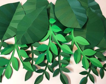 Large paper leaves, leaf set for flower backdrops, greenery for wall hangings, party backdrops