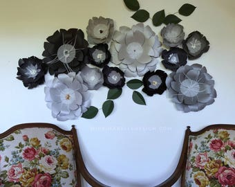 Black paper flowers black wall decor black giant flowers black wall decor large paper flowers black flower backdrop black wedding backdrop