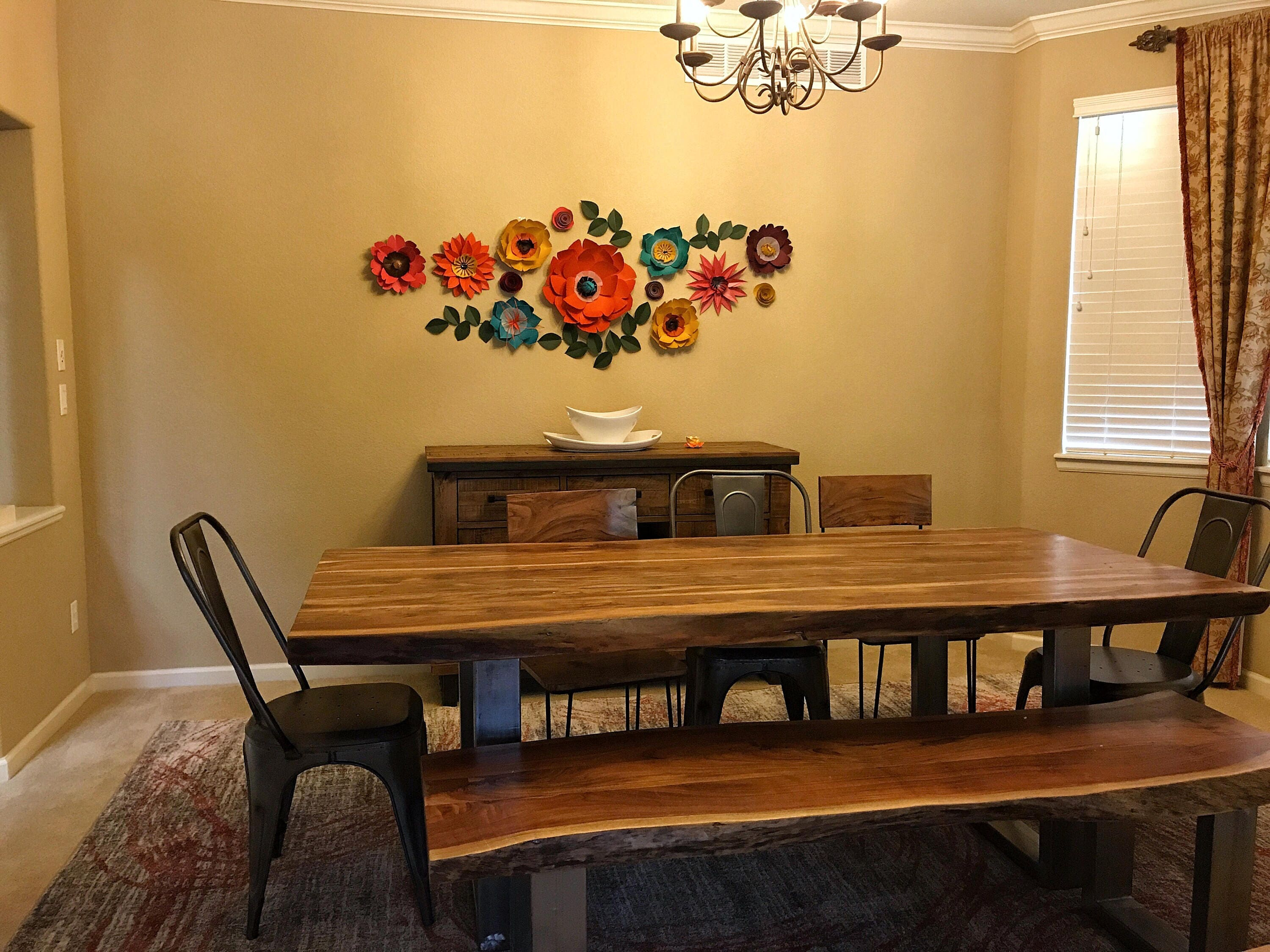 Paper flowers dining room wall decor, jewel-toned paper flowers ...
