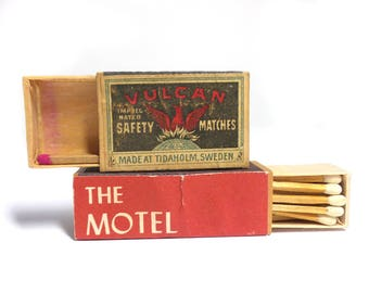 Vintage Matchboxes - The Motel on the Mountain & Vulcan Matchbox
