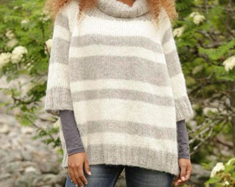 Knit Alpaca oversized sweater, poncho sweater worked in Drops Alpaca Silk, raglan yoke, turtle neck