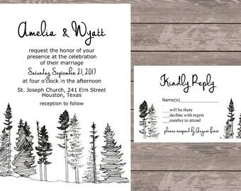 Tree wedding invitation, rustic forest tree wedding invitation set, personalized wedding invite, wedding invitations