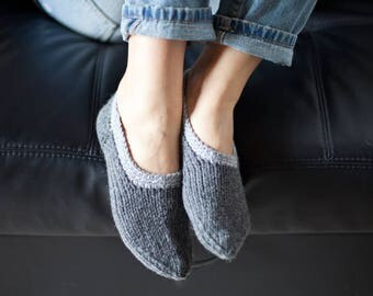 Knit slippers, Womens slippers, Pure wool slipper socks, Wool home shoes, Grey slippers, Brown slippers, Indoor hand knitted shoes, WoWool