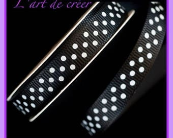 1 meter black ribbon with white dots grosgrain Ribbon, 10mm