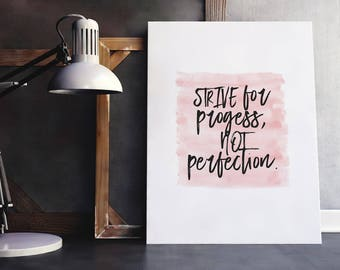 Perfect Quote | Progress Quote, Perfection Quote, Encouragement Gift, Digital Download, Printable, Inspiring Saying, Perfectly Imperfect