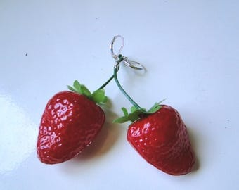 Retro Pinup Large Strawberry Earrings - Clip-On or Pierced Styles!