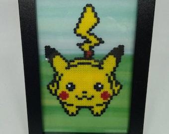 Handmade Pokemon Inspired Pikachu Framed Picture