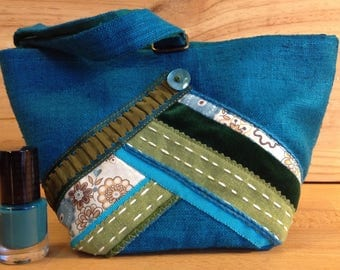 Small bag made of blue silk and trimmings. Valentines Day gift idea.