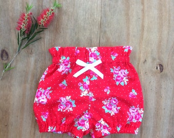 Baby Clothes, Baby Bloomer red berry bloomers
