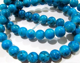 Beautiful Turquoise Magnasite Beads , Round Plain Beads 10 mm , Sold Per Strand of 16 Inch Long , Blue Howlite Smooth Gemstone Beads