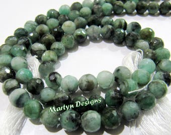 AAA Quality Natural Emerald High Cutting and Polished Beads , 6-7 mm Faceted Round Beads , Strand 10 inches long , Precious Gemstone Beads.