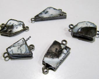 SALE- Natural Dendrite Opal Slice Connector Free Form , Charm Pendant With Black Oxidized Edge , Double Loop 1 inches approximately.