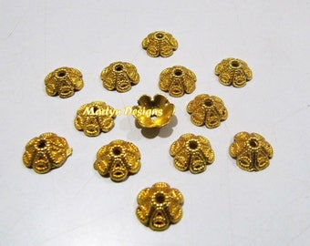 Designer Handmade Cap Shape Gold Plated Metal Beads , 10mm Flower Shape Spacer Handcarved Beads , Sold per Pack 10 Pieces in Wholesale Price