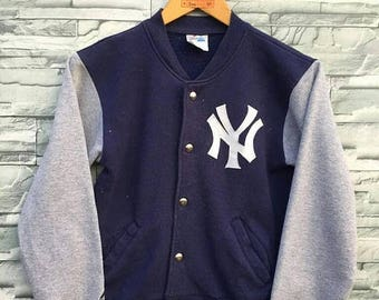 New York YANKEES Jacket Medium Boys Majestic Large Vintage 90's Baseball Team Mlb Vintage Baseball NY Yankees Varsity Jacket Size M Youth