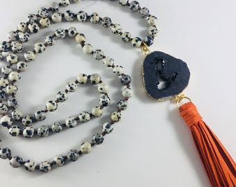 Dalmation jasper beaded necklace with black druzy pendant and orange tassel // Fast and free shipping