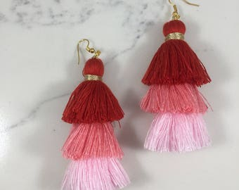 Triple tassel red/pink ombre earrings // Fast and free shipping