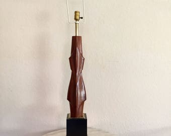 Mid Century Sculptural Wooden Lamp By The Laurel Company