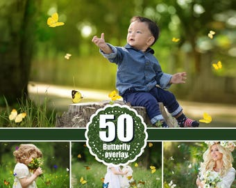 50 Butterfly  Photo Overlays, Realistic Natural flying butterflies Photo layer, Professional Photoshop effect, Photoshop overlay, png file