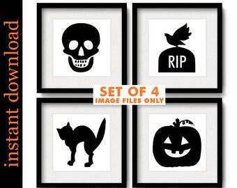 Halloween Printables, minimalist Halloween, Halloween prints, Halloween typography, Halloween art, Halloween print set, Halloween download