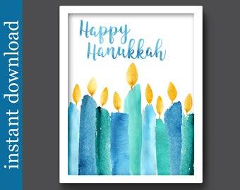 Hanukkah Printable, Happy Hanukkah, Hanukkah wall art, Hanukkah decor, Hanukkah download, Hanukkah candles, Hanukkah gift, Hanukkah print
