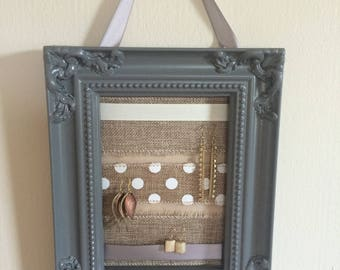 Gray Burlap and Ribbon Earring Hanger