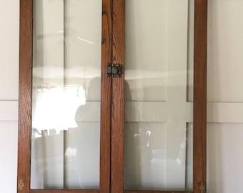 antique cabinet doors. antique wood cabinet doors, clear glass window, pair of 18\ doors