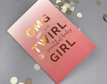 Copper Foil Ombre Pink New Baby Girl Greeting Card A6