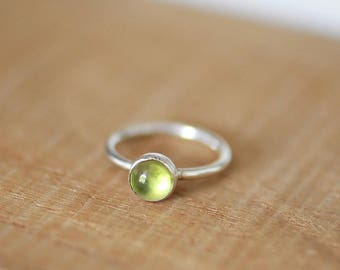 Peridot Gemstone Stacking Ring, August Birthstone, Gemstone Ring, Sterling Silver Peridot Ring, Peridot Stacking Ring, Silver Stacking Ring