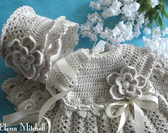 Christening Baby Dress Set Baby Bonnet Crochet Baptism Baby Dress Crochet Baby Bonnet Cotton Baby Dress