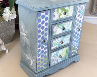 Vintage Wooden Jewelry Armoire / Chalk Painted and Decoupaged Shabby Chic Jewelry Box / Upcycled OOAK Designer Jewelry Box