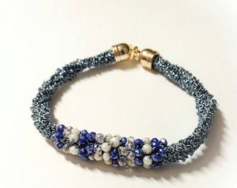 Crochet Bracelet Sugar Paper, Textile Jewellery