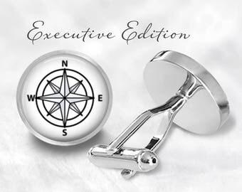 Compass Cufflinks - Nautical Compass Cuff Links (Pair) Lifetime Guarentee (S0962)