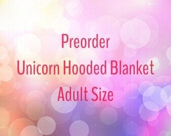 Preorder Unicorn Hooded Blanket, Unicorn Blanket Adult Size, Teen Unicorn Blanket, My Little Pony Friendship is Magic, Bronies, Rainbow Dash