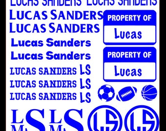 School Supply Labels, Decals, Stickers - 12 x 12 Sheet Name Labels, Back to School, Adhesive Vinyl Names, Sports Themed