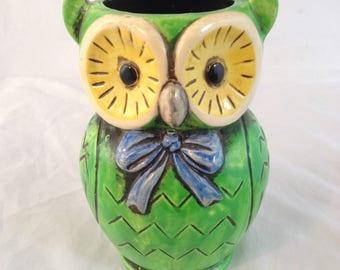 Vintage Mod Owl Vase Pencil Holder