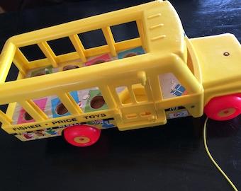 Vintage Fisher Price School Bus, Little People, Retro Toy