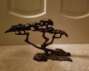Tree of Life by Scott Nelles Bronze Sculp Menorah Candle Holder Holiday Hanukkah