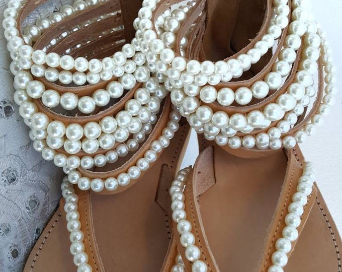 Greek sandals,Bohemian sandals,women's shoes,pearl sandals,leather sandals,summer shoes,strappy sandals,vintage,retro,pearls,boho