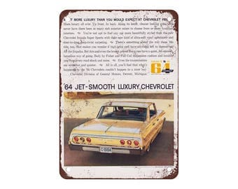 """1964 Chevrolet Impala - Vintage Look Reproduction 9"""" X 12"""" Metal Sign"""