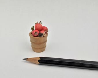 12th scale dollshouse miniature basket of apples and a snail.....
