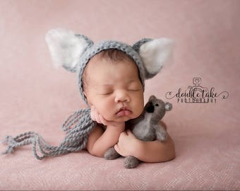 Koala bear hat, newborn koala prop, felted bear set, bear hat, bear bonnet, newborn teddy bear hat, photography prop, bear hat